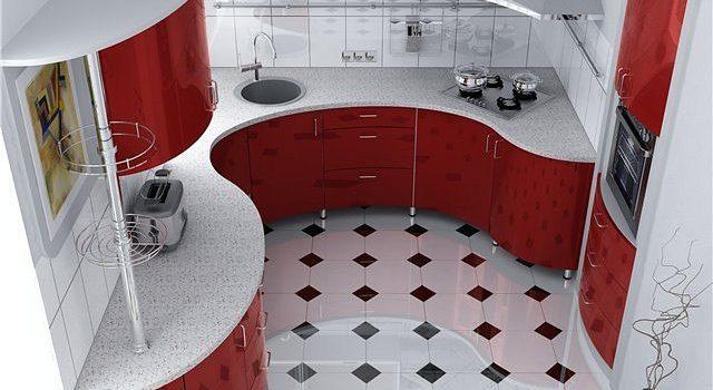Таким получился пол в кухне, укладка плитки прямо со вставками